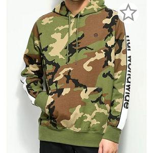 HUF Worldwide camo hoodie 100% ctn no drawstring